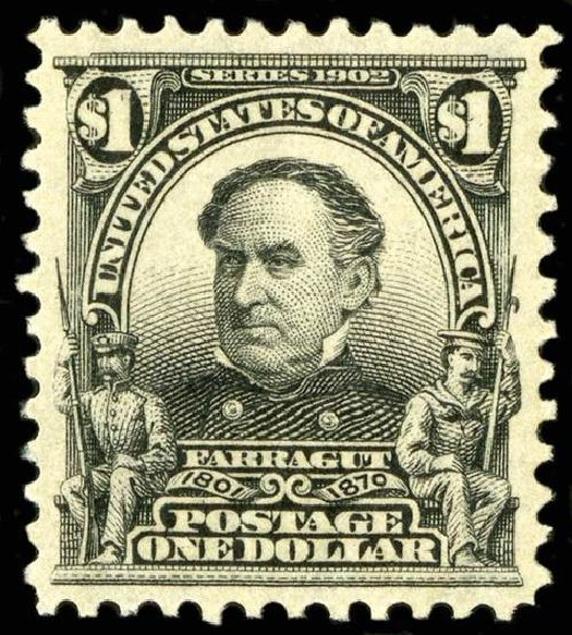 Costs of US Stamp Scott Catalogue #311: US$1.00 1903 Farragut. Spink Shreves Galleries, Jul 2015, Sale 151, Lot 250