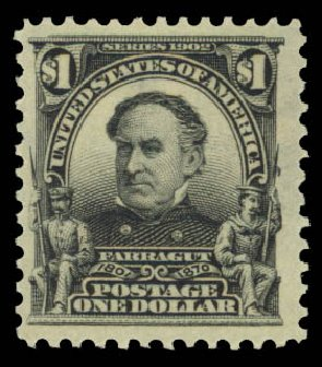 Values of US Stamp Scott Catalogue 311: US$1.00 1903 Farragut. Daniel Kelleher Auctions, May 2015, Sale 669, Lot 2861