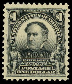 Prices of US Stamps Scott Catalogue 311 - 1903 US$1.00 Farragut. Daniel Kelleher Auctions, Aug 2015, Sale 672, Lot 2606
