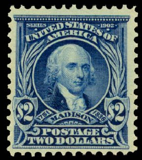 US Stamp Value Scott Catalog 312 - US$2.00 1903 Madison. Daniel Kelleher Auctions, Aug 2015, Sale 672, Lot 2610