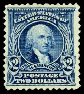 US Stamp Value Scott 312: US$2.00 1903 Madison. Daniel Kelleher Auctions, Aug 2015, Sale 672, Lot 2611