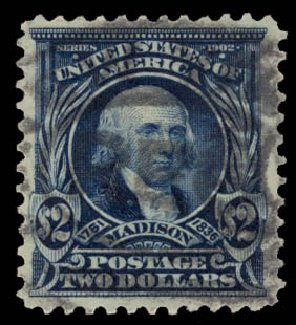 Values of US Stamps Scott Catalog 312: 1903 US$2.00 Madison. Daniel Kelleher Auctions, May 2015, Sale 669, Lot 2865