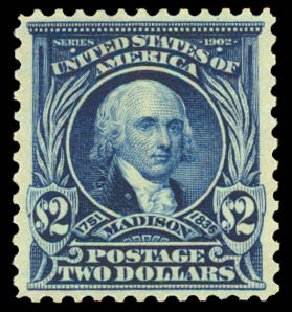 Value of US Stamps Scott Catalogue #312: US$2.00 1903 Madison. Daniel Kelleher Auctions, Aug 2015, Sale 672, Lot 2612