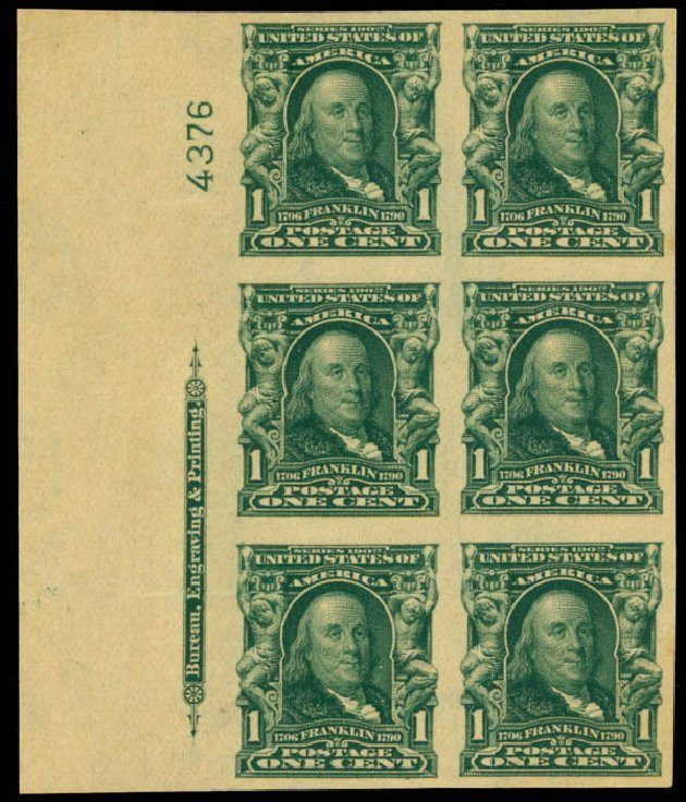 US Stamps Prices Scott Catalogue #314 - 1906 1c Franklin Imperf. Daniel Kelleher Auctions, Mar 2013, Sale 635, Lot 427