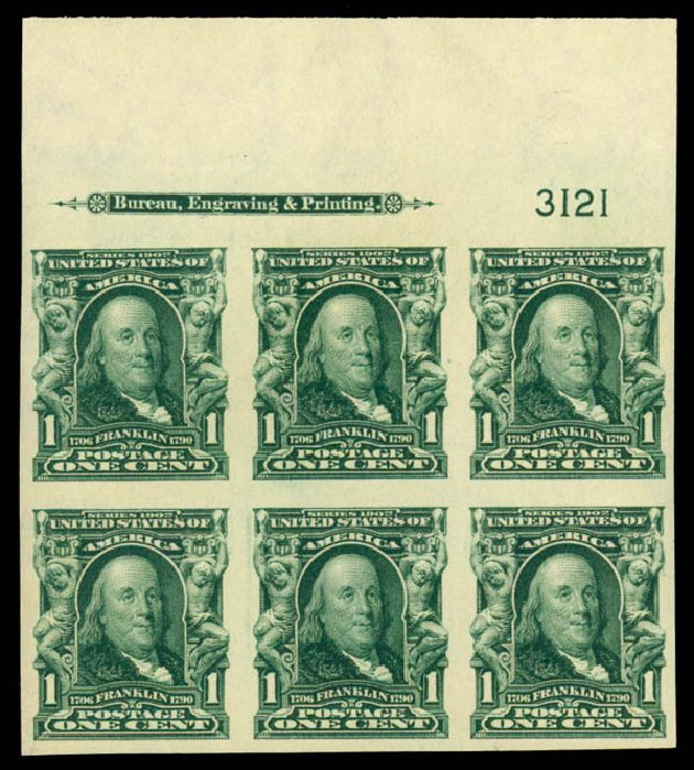 US Stamps Price Scott Catalogue 314 - 1c 1906 Franklin Imperf. Daniel Kelleher Auctions, May 2014, Sale 653, Lot 2400