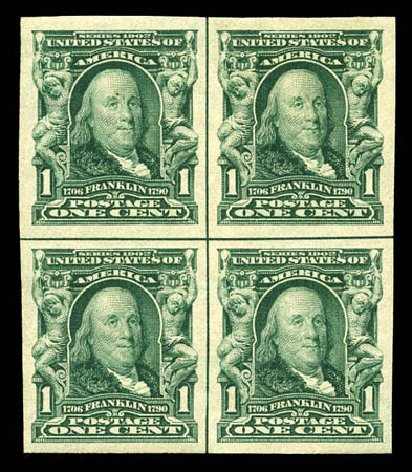 US Stamp Prices Scott #314 - 1906 1c Franklin Imperf. Matthew Bennett International, Mar 2012, Sale 344, Lot 4491