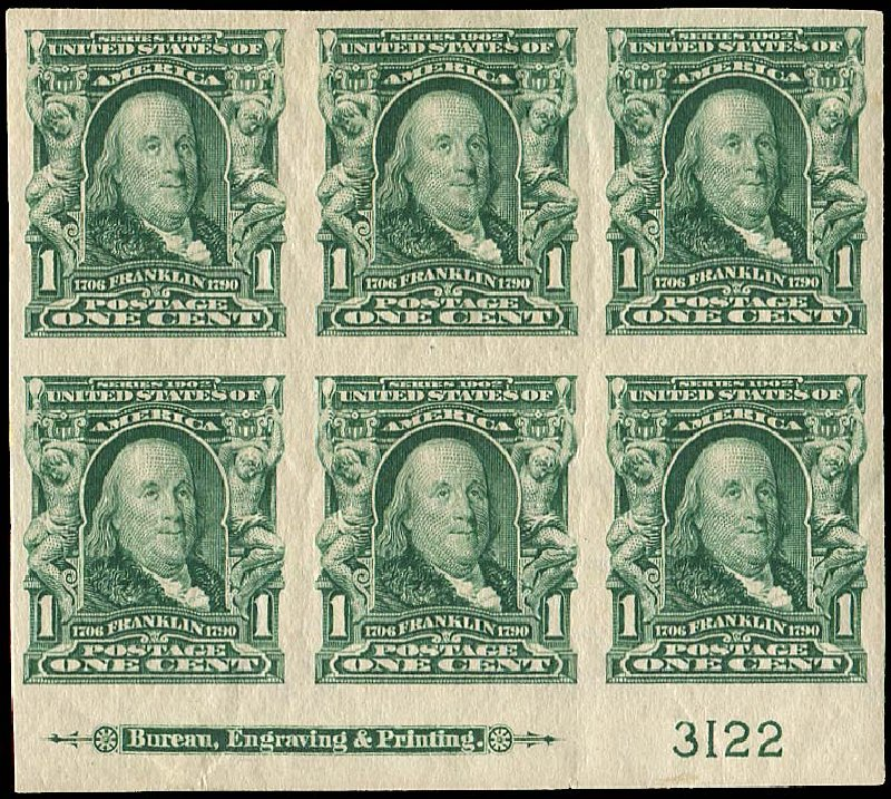Prices of US Stamps Scott #314 - 1906 1c Franklin Imperf. Regency-Superior, Nov 2014, Sale 108, Lot 1291