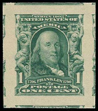 Values of US Stamp Scott Cat. # 314: 1906 1c Franklin Imperf. H.R. Harmer, Jun 2013, Sale 3003, Lot 1214