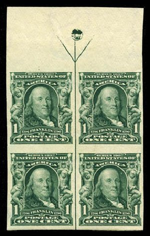 Cost of US Stamp Scott Catalogue #314 - 1906 1c Franklin Imperf. Matthew Bennett International, Mar 2012, Sale 344, Lot 4492