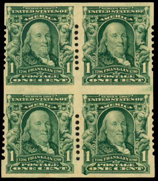 US Stamp Value Scott Catalogue #314 - 1c 1906 Franklin Imperf. Daniel Kelleher Auctions, Sep 2013, Sale 639, Lot 3422