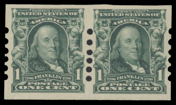 Costs of US Stamp Scott Cat. #314: 1906 1c Franklin Imperf. Daniel Kelleher Auctions, Aug 2015, Sale 672, Lot 2622