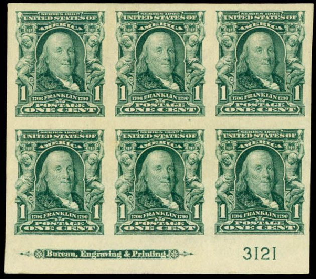 US Stamps Values Scott #314: 1906 1c Franklin Imperf. Daniel Kelleher Auctions, Mar 2013, Sale 635, Lot 426