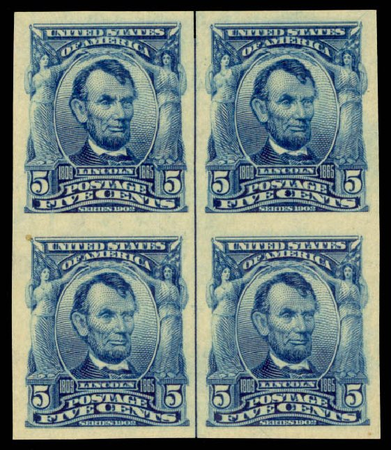 Value of US Stamp Scott Cat. #315 - 1908 5c Lincoln Imperf. Daniel Kelleher Auctions, Aug 2015, Sale 672, Lot 2627