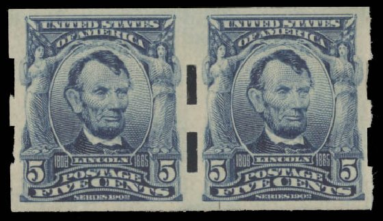 Value of US Stamps Scott # 315: 5c 1908 Lincoln Imperf. Daniel Kelleher Auctions, Aug 2015, Sale 672, Lot 2628