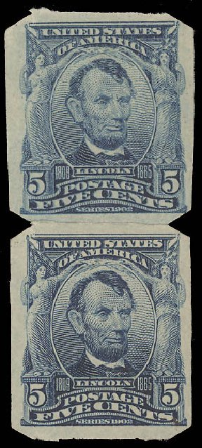Cost of US Stamps Scott 315 - 5c 1908 Lincoln Imperf. Daniel Kelleher Auctions, Aug 2015, Sale 672, Lot 2629