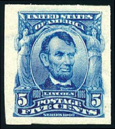 US Stamps Value Scott 315 - 1908 5c Lincoln Imperf. Schuyler J. Rumsey Philatelic Auctions, Apr 2015, Sale 60, Lot 2319