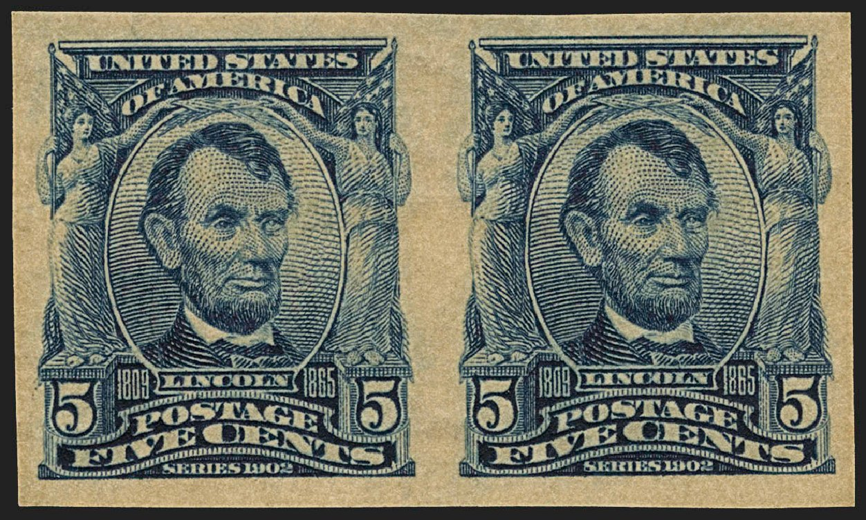 Values of US Stamps Scott Catalogue 315 - 1908 5c Lincoln Imperf. Robert Siegel Auction Galleries, Jul 2015, Sale 1107, Lot 419