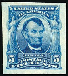 US Stamps Price Scott Catalogue # 315 - 1908 5c Lincoln Imperf. Schuyler J. Rumsey Philatelic Auctions, Apr 2015, Sale 60, Lot 2320