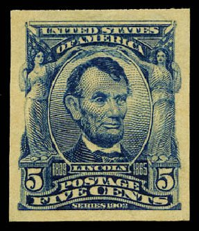 Price of US Stamps Scott Cat. # 315 - 1908 5c Lincoln Imperf. Daniel Kelleher Auctions, May 2015, Sale 669, Lot 2871