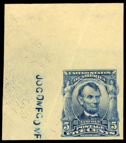 Costs of US Stamps Scott # 315: 1908 5c Lincoln Imperf. Daniel Kelleher Auctions, Aug 2015, Sale 672, Lot 2624