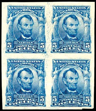 US Stamps Values Scott Catalog 315: 5c 1908 Lincoln Imperf. Schuyler J. Rumsey Philatelic Auctions, Apr 2015, Sale 60, Lot 2324