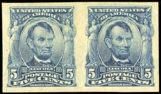 Costs of US Stamps Scott Catalogue #315 - 1908 5c Lincoln Imperf. Spink Shreves Galleries, Jul 2015, Sale 151, Lot 254