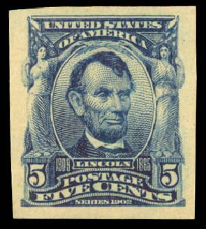 Prices of US Stamp Scott Catalog 315 - 5c 1908 Lincoln Imperf. Daniel Kelleher Auctions, Aug 2015, Sale 672, Lot 2625