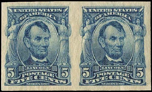 Price of US Stamp Scott Cat. #315 - 5c 1908 Lincoln Imperf. Regency-Superior, Aug 2015, Sale 112, Lot 685