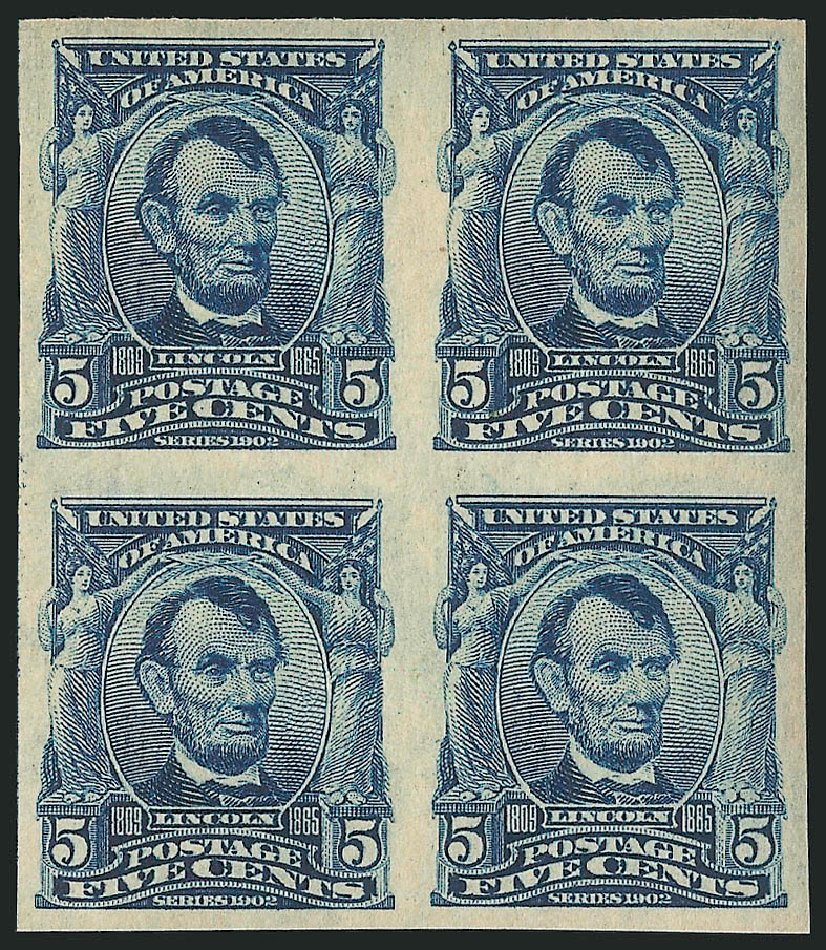 US Stamps Prices Scott Cat. # 315 - 1908 5c Lincoln Imperf. Robert Siegel Auction Galleries, Apr 2015, Sale 1096, Lot 555