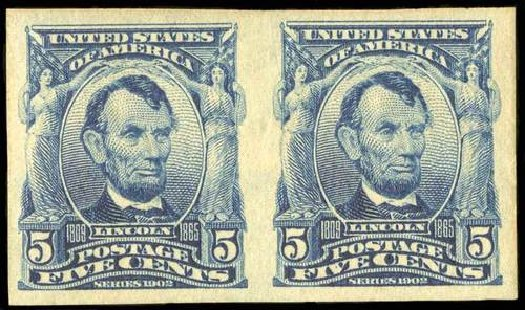 Cost of US Stamp Scott Cat. 315 - 5c 1908 Lincoln Imperf. Spink Shreves Galleries, Jul 2015, Sale 151, Lot 255