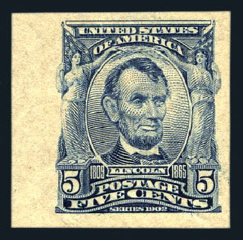 US Stamps Value Scott Catalogue 315 - 1908 5c Lincoln Imperf. Harmer-Schau Auction Galleries, Aug 2015, Sale 106, Lot 1742