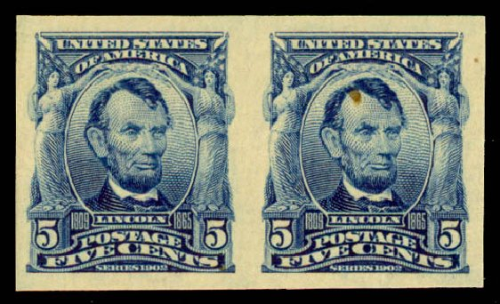 Cost of US Stamps Scott Catalog #315: 5c 1908 Lincoln Imperf. Daniel Kelleher Auctions, May 2015, Sale 669, Lot 2872
