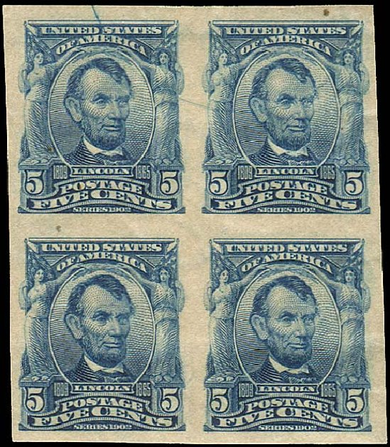 Values of US Stamp Scott Catalog 315 - 1908 5c Lincoln Imperf. Regency-Superior, Aug 2015, Sale 112, Lot 682