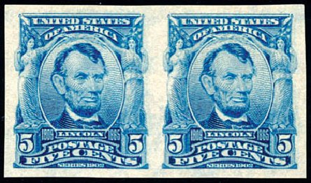 Costs of US Stamp Scott Catalog #315: 5c 1908 Lincoln Imperf. Schuyler J. Rumsey Philatelic Auctions, Apr 2015, Sale 60, Lot 2322