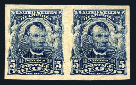 Price of US Stamp Scott Cat. # 315 - 5c 1908 Lincoln Imperf. Harmer-Schau Auction Galleries, Aug 2015, Sale 106, Lot 1743