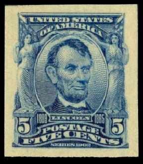 US Stamp Prices Scott Catalog #315: 5c 1908 Lincoln Imperf. Daniel Kelleher Auctions, Aug 2015, Sale 672, Lot 2623