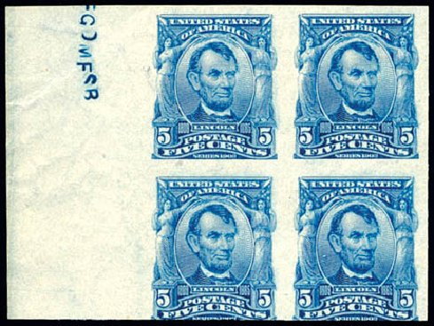 Price of US Stamp Scott # 315: 1908 5c Lincoln Imperf. Schuyler J. Rumsey Philatelic Auctions, Apr 2015, Sale 60, Lot 2323