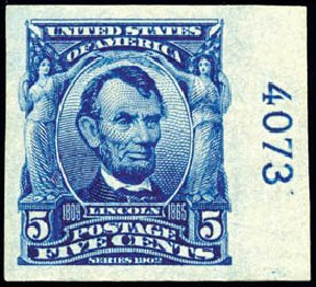 Price of US Stamp Scott Catalog #315: 5c 1908 Lincoln Imperf. Schuyler J. Rumsey Philatelic Auctions, Apr 2015, Sale 60, Lot 2783