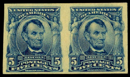 US Stamp Prices Scott Catalogue 315: 5c 1908 Lincoln Imperf. Daniel Kelleher Auctions, Aug 2015, Sale 672, Lot 2626