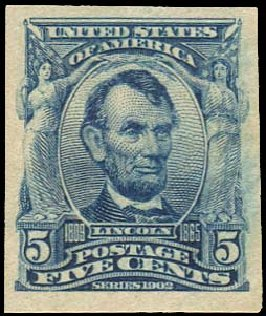 Cost of US Stamp Scott Cat. 315: 1908 5c Lincoln Imperf. Regency-Superior, Aug 2015, Sale 112, Lot 686