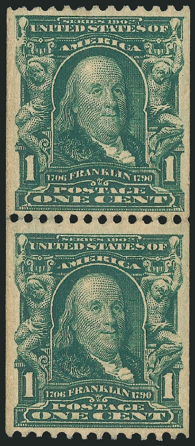 Price of US Stamps Scott Catalogue #316: 1c 1908 Franklin Coil. Robert Siegel Auction Galleries, Apr 2015, Sale 1096, Lot 557