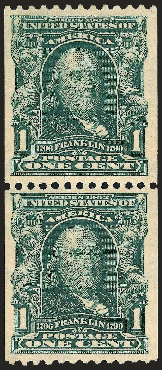 US Stamps Prices Scott Cat. 316: 1c 1908 Franklin Coil. Robert Siegel Auction Galleries, Sep 2009, Sale 968B, Lot 394