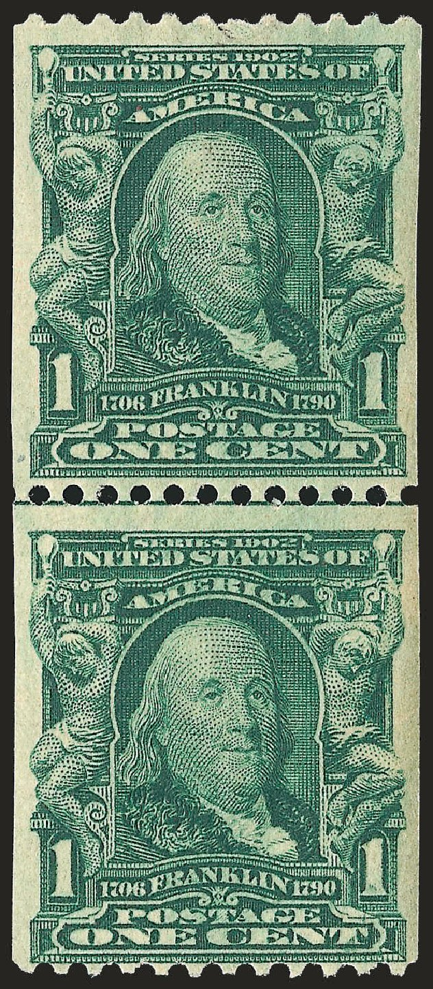 Prices of US Stamps Scott #316 - 1c 1908 Franklin Coil. Robert Siegel Auction Galleries, Sep 2009, Sale 968B, Lot 393