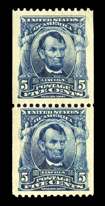 Cost of US Stamp Scott Cat. 317 - 5c 1908 Lincoln Coil. Cherrystone Auctions, Jul 2015, Sale 201507, Lot 2107