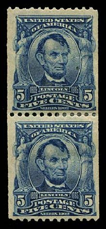 Costs of US Stamps Scott # 317: 5c 1908 Lincoln Coil. Regency-Superior, Aug 2015, Sale 112, Lot 687