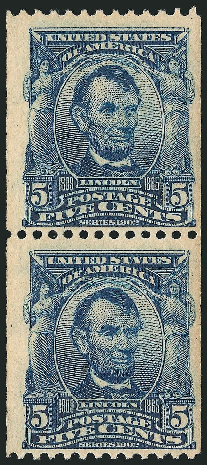 Values of US Stamp Scott Catalog # 317 - 1908 5c Lincoln Coil. Robert Siegel Auction Galleries, Feb 2015, Sale 1093, Lot 48