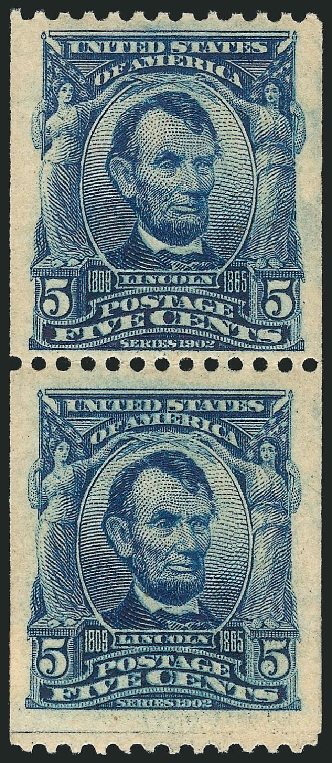Costs of US Stamp Scott 317: 5c 1908 Lincoln Coil. Robert Siegel Auction Galleries, Apr 2015, Sale 1096, Lot 558