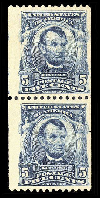 Prices of US Stamps Scott Catalogue #317 - 1908 5c Lincoln Coil. Cherrystone Auctions, Nov 2014, Sale 201411, Lot 69