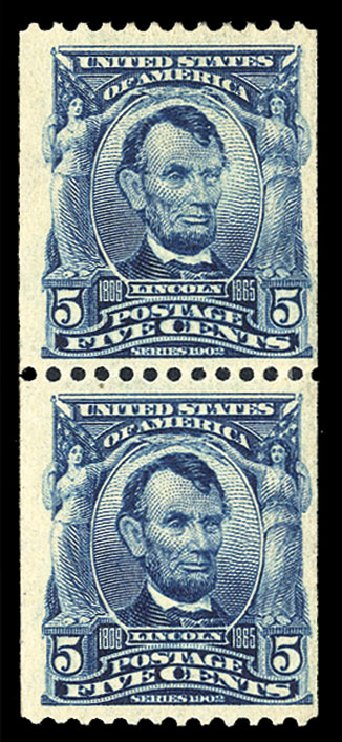 Costs of US Stamp Scott Catalog 317 - 1908 5c Lincoln Coil. Cherrystone Auctions, Jul 2015, Sale 201507, Lot 70