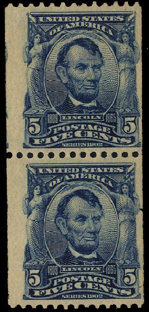 Costs of US Stamps Scott #317: 1908 5c Lincoln Coil. Cherrystone Auctions, Sep 2012, Sale 201209, Lot 74